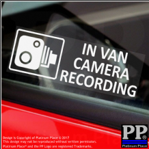 5 x Small In VAN Camera Recording Window Stickers-87mmx30mm-CCTV Warning Signs-Van,Lorry,Delivery,Courier,Transit